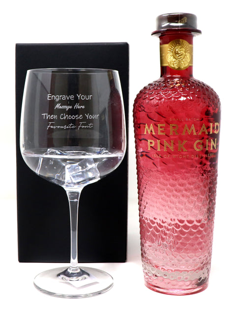 Personalised Gin Balloon Cocktail Glass & 70cl Bottle of Mermaid Pink Gin
