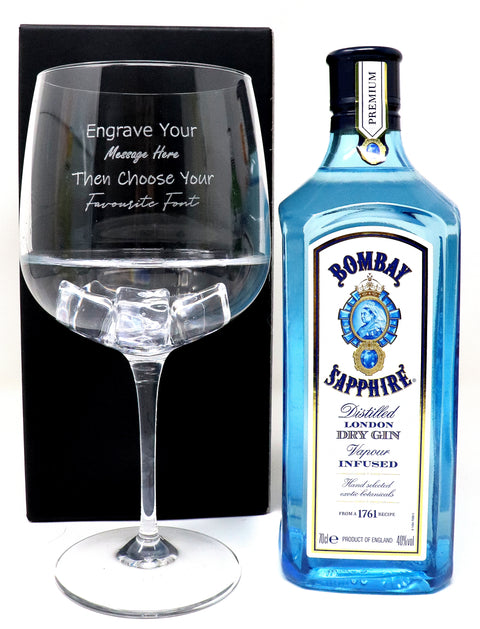 Personalised Gin Balloon Cocktail Glass & 70cl Bottle of Bombay Sapphire Gin