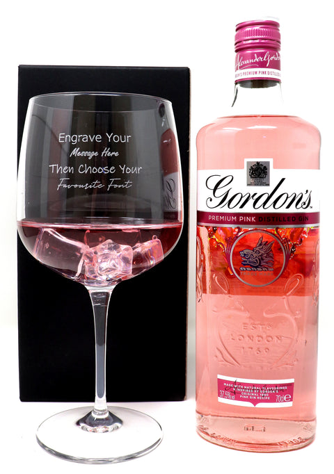 Personalised Gin Balloon Cocktail Glass & 70cl Bottle of Gordon's Pink Gin
