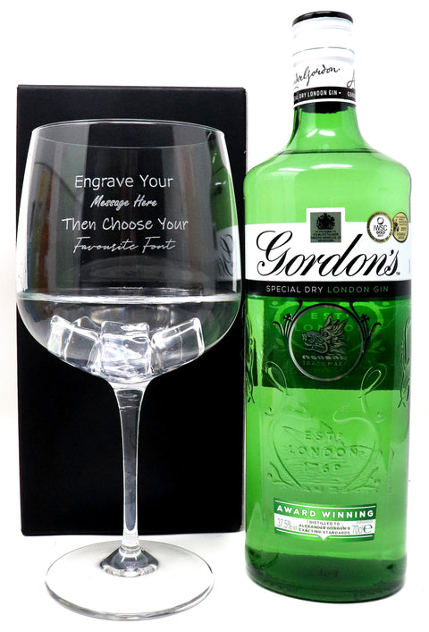 Personalised Gin Balloon Cocktail Glass & 70cl Bottle of Gordon's Original Gin
