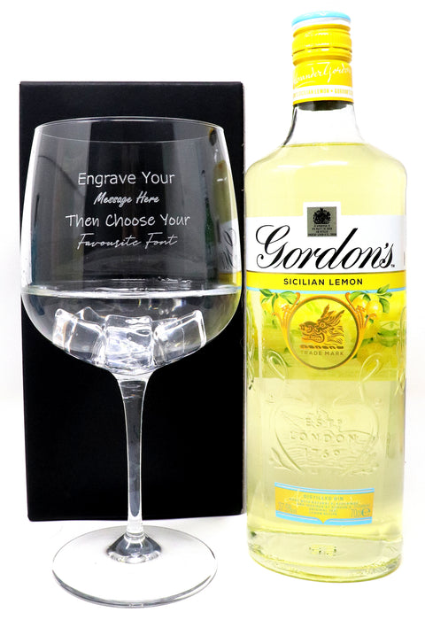 Personalised Gin Balloon Cocktail Glass & 70cl Bottle of Gordon's Lemon Gin