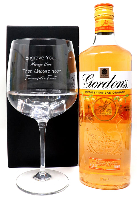 Personalised Gin Balloon Cocktail Glass & 70cl Bottle of Gordon's Orange Gin