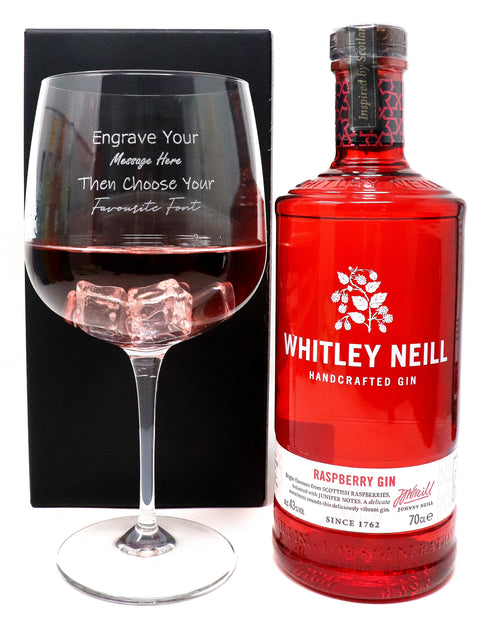 Personalised Gin Balloon Cocktail Glass & 70cl Bottle of Whitley Neill Raspberry Gin