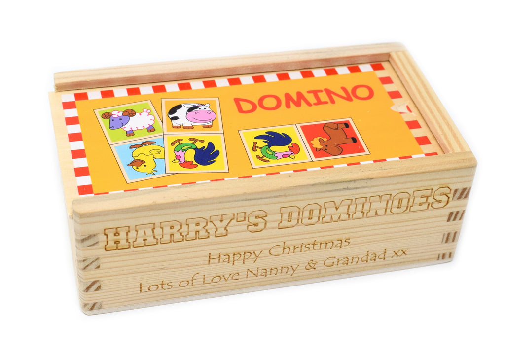 Personalised/Engraved Wooden Farm Animal Dominoes