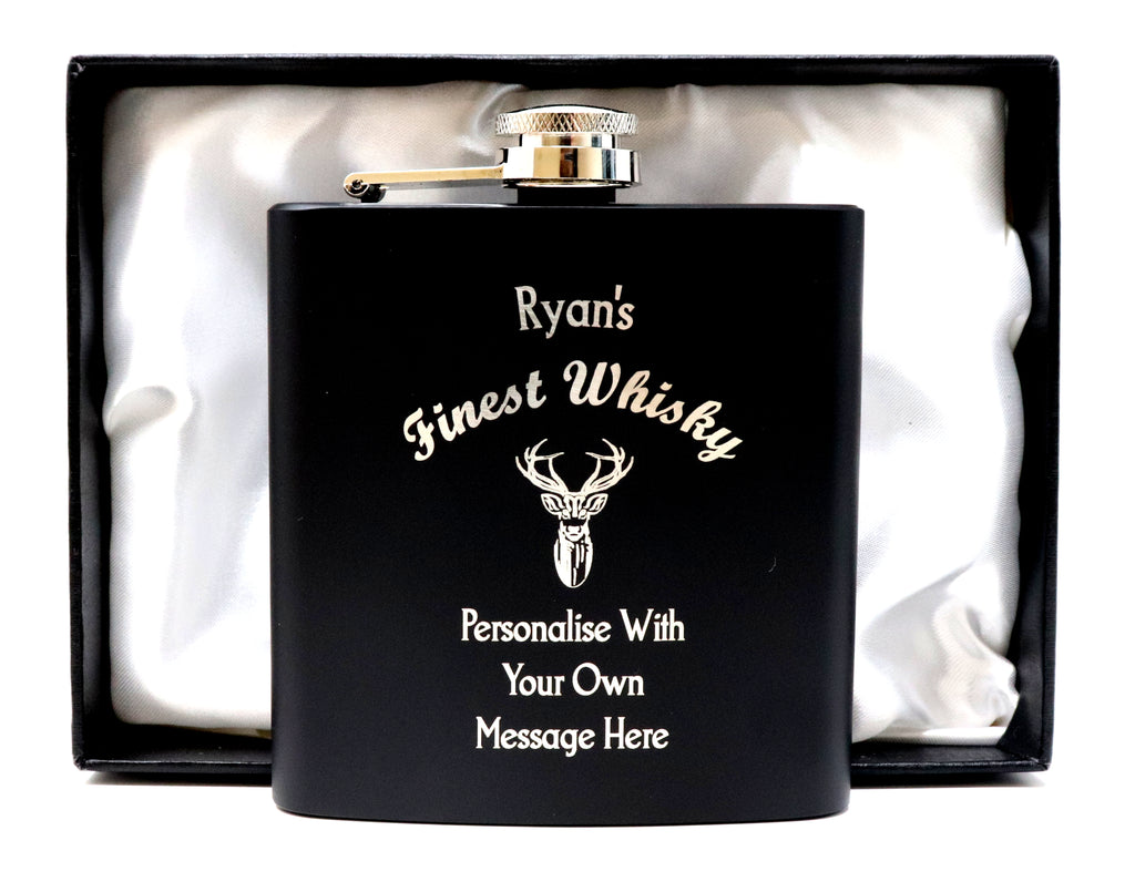 Personalised *Black* 6oz Hip Flask in Gift Box - Finest Whisky Design