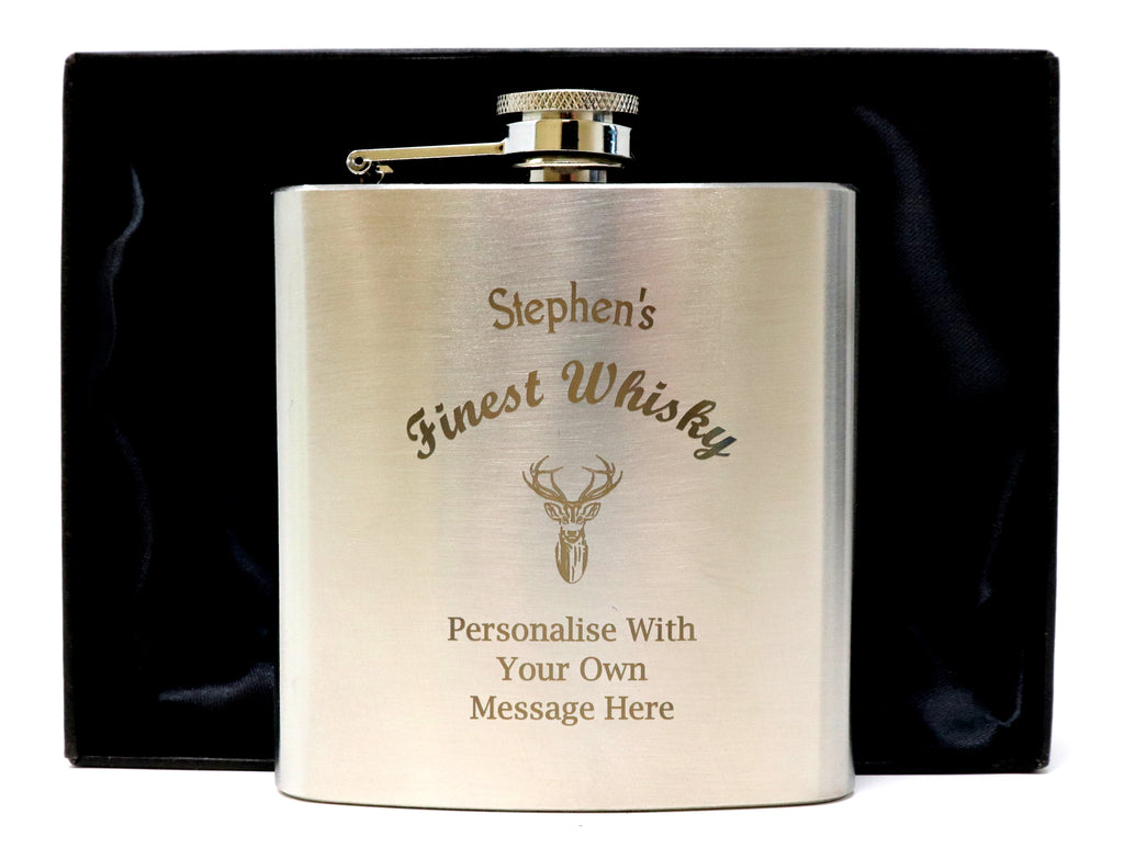 Personalised Silver Hip Flask in Gift Box - Finest Whisky Design