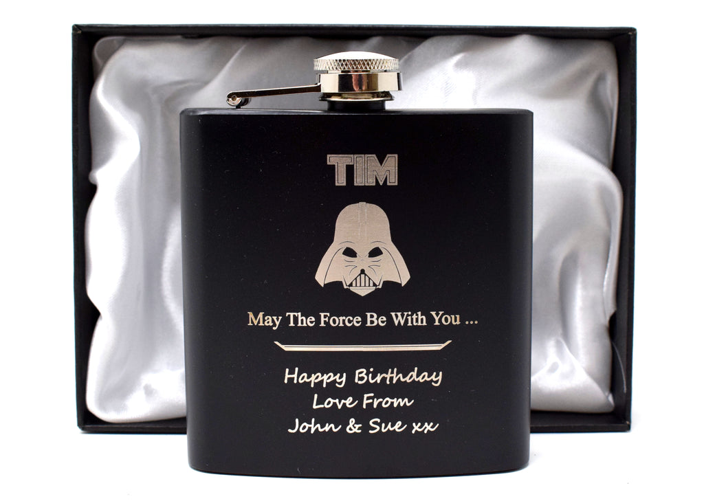 Personalised *Black* 6oz Hip Flask in Gift Box - Star Wars Darth Vader Design