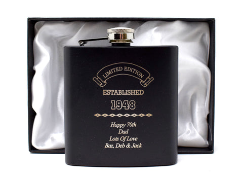 Personalised *Black* 6oz Hip Flask in Gift Box - Established Birthday Design