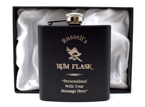 Personalised Black Hip Flask in Gift Box - Rum Design