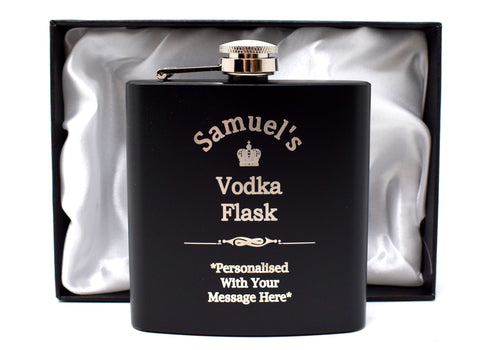 Personalised *Black* Hip Flask in Gift Box - Vodka Design