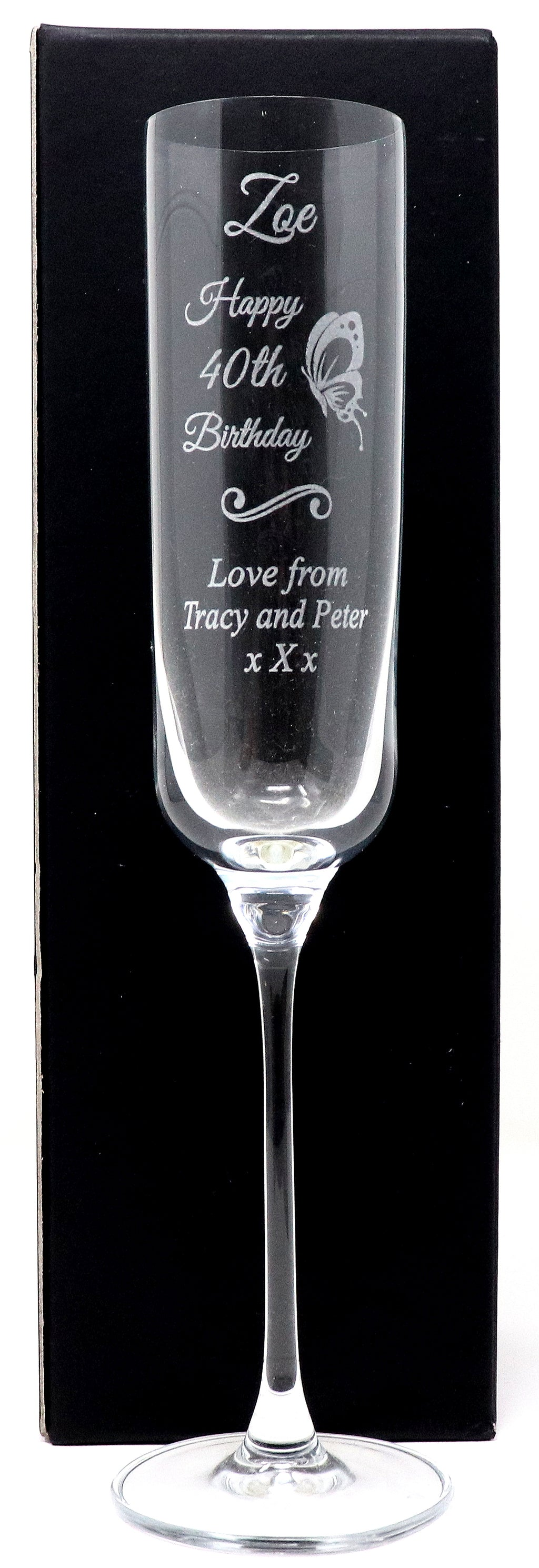 Personalised Fusion Champagne Flute - Birthday Butterfly Design