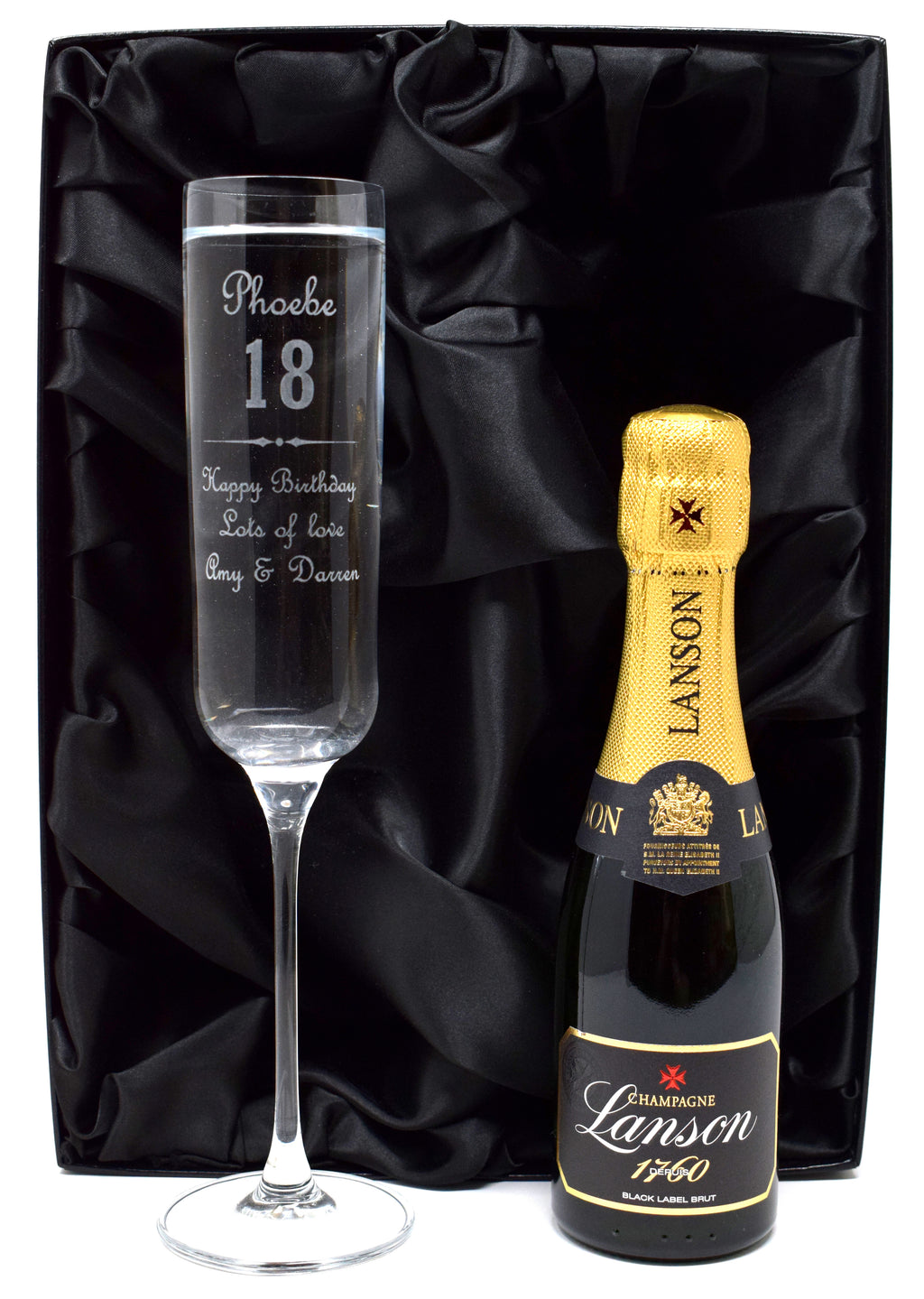 Personalised Fusion Flute Glass & Mini Champagne in Silk Gift Box - Birthday (F) Design