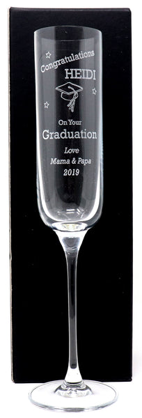 Personalised Fusion Champagne Flute Glass - Graduation Design