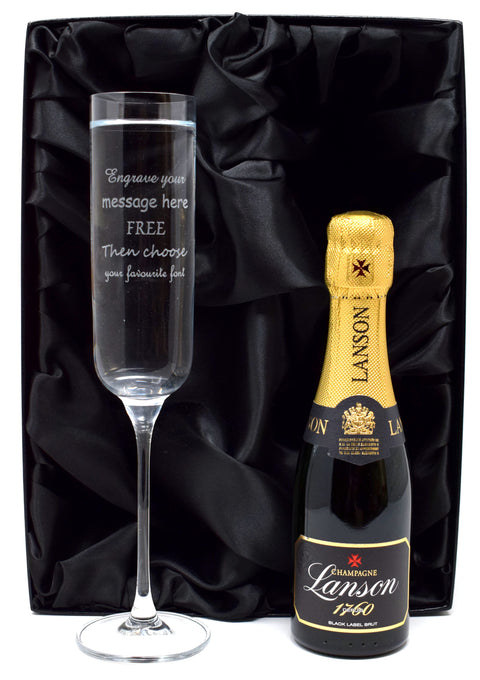 Personalised Fusion Flute Glass & Mini Champagne in Silk Gift Box