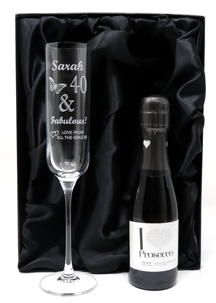 Personalised Fusion Flute Glass & Mini Bottle of Prosecco in Silk Gift Box - Birthday Fabulous Design
