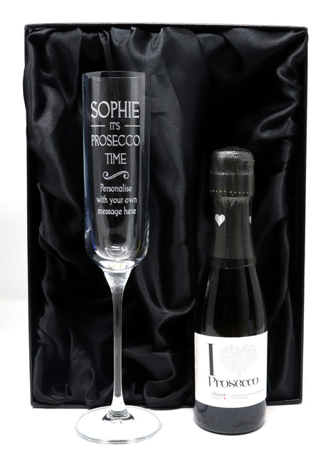 Personalised Fusion Flute Glass & Mini Bottle of Prosecco in Silk Gift Box - Prosecco Time Design