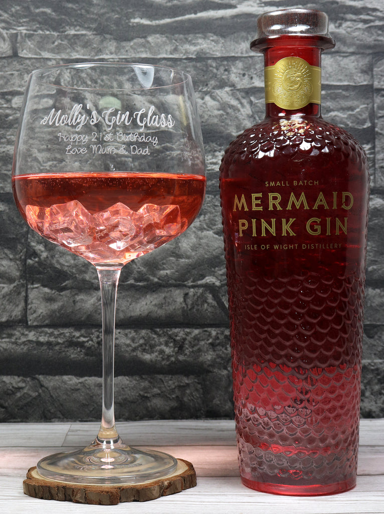 Personalised New Gin Cocktail Balloon Glass & 70cl Bottle of Mermaid Pink Gin