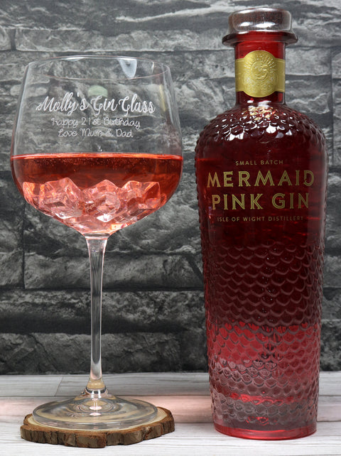 Personalised Gin Balloon Cocktail Glass & 70cl Bottle of Mermaid Pink Gin - Gin Design