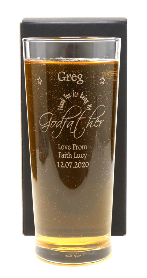Personalised New Pint Glass - Godfather Design