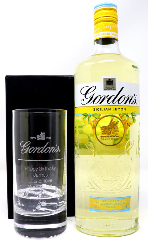 Personalised Premium Highball Glass & 70cl Gin - Gordon's Gin Design