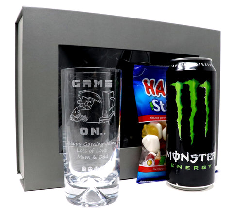 Personalised Dimple Base Highball Glass & Energy Drink in a Grey Presentation Gift Box - Gamer Design