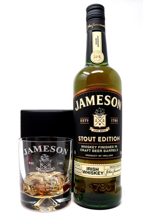 Personalised Dimple Tumbler & 70cl Jameson Irish Whiskey Stout Edition - Jameson Label Design
