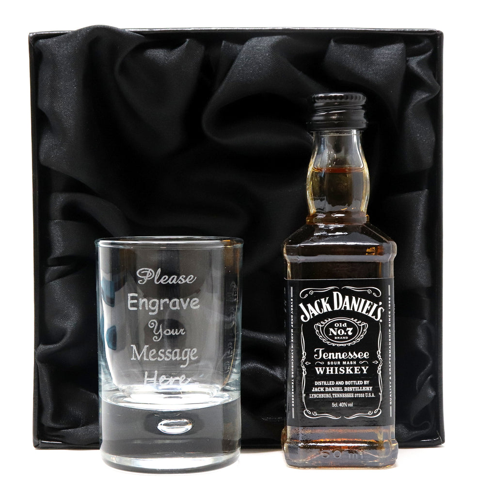 Personalised Shot Glass & Jack Daniels Miniature