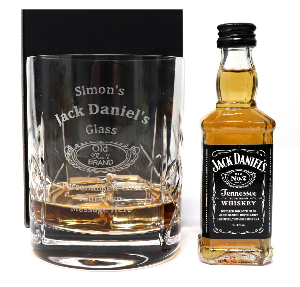 Personalised Crystal Glass Tumbler + Miniature - Jack Daniels Design