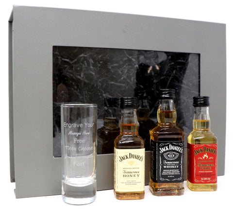 Personalised Tall Shot Glass & 3 Jack Daniels Miniatures