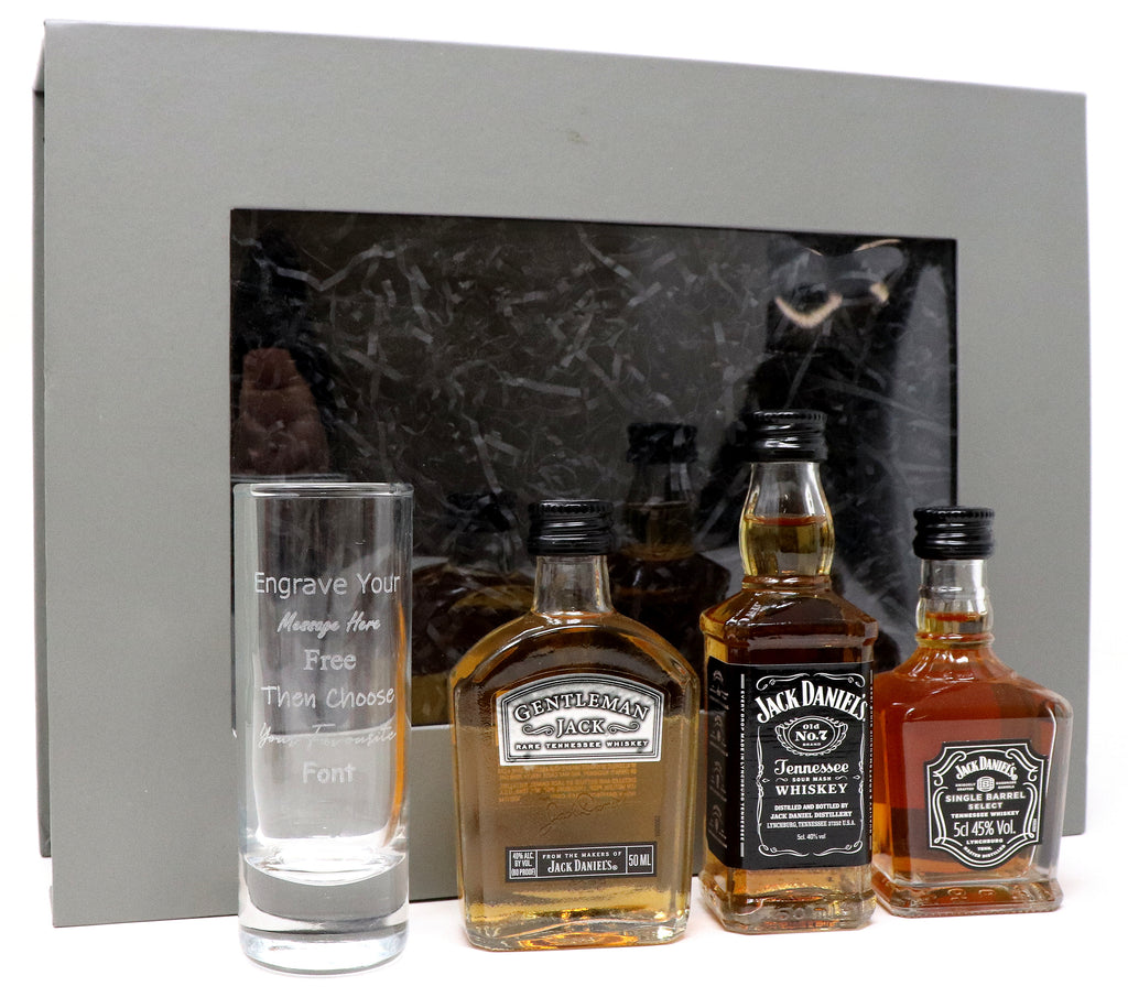 Personalised Tall Shot Glass + 3 Jack Daniels Miniatures in Grey Gift Box - Set (2)