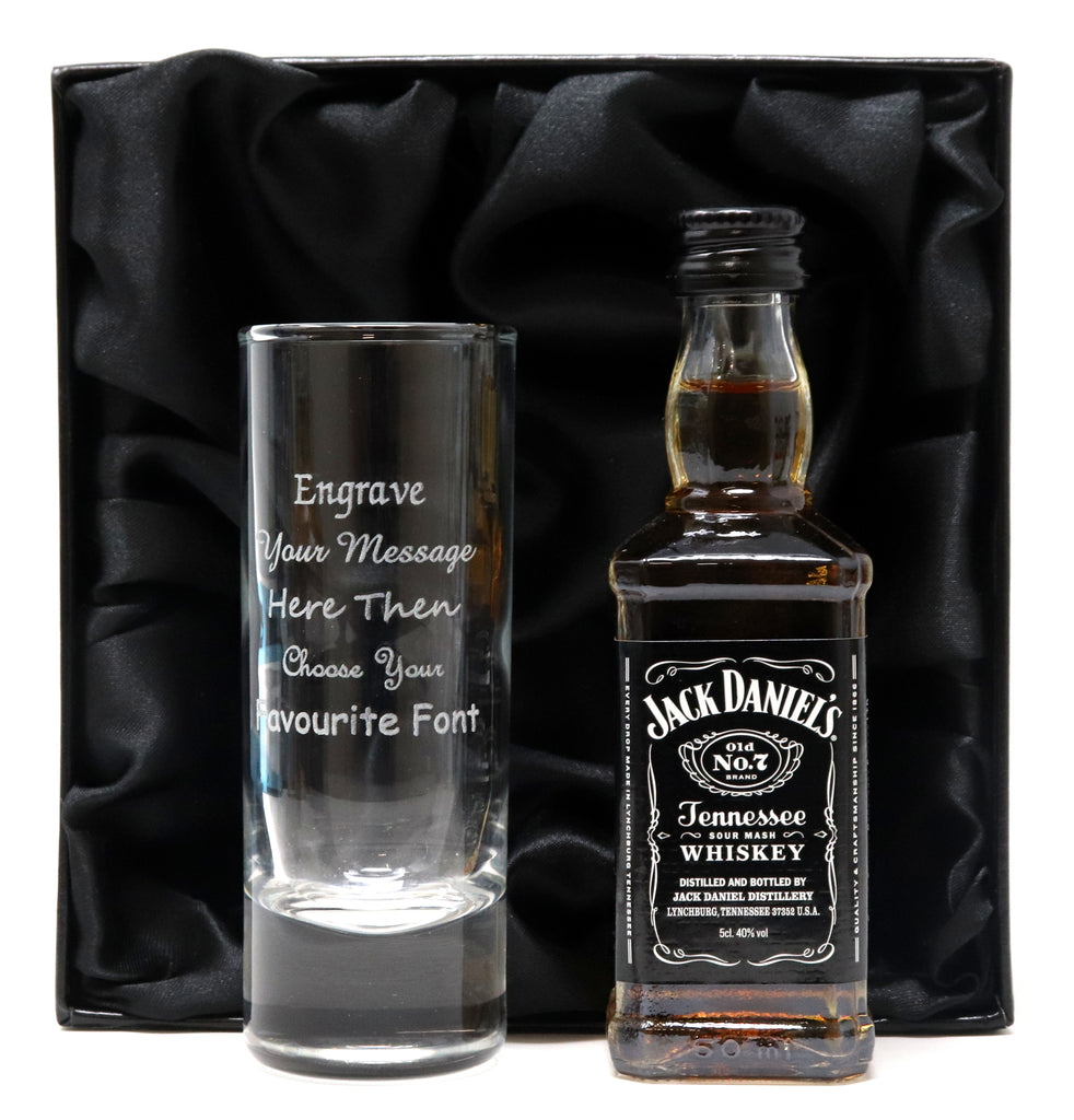 Personalised Tall Shot Glass & Jack Daniels in Silk Gift Box