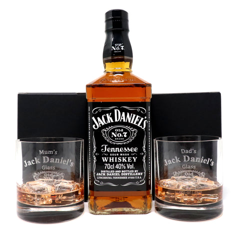 Personalised Pair of Premium Tumblers & 70cl Bottle of Jack Daniels - Jack Daniels Design