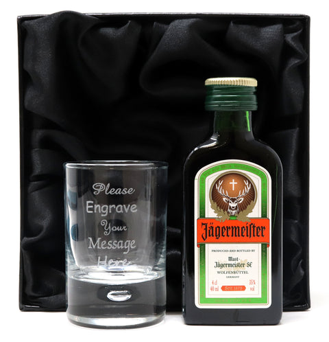 Personalised Shot Glass & Jagermeister Miniature in Silk Gift Box