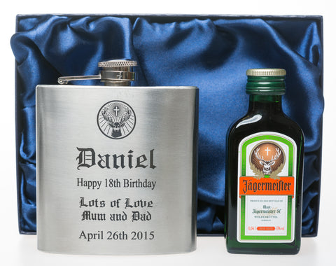 Personalised *Silver* Hip Flask & Miniature in Silk Gift Box - Jagermeister Design
