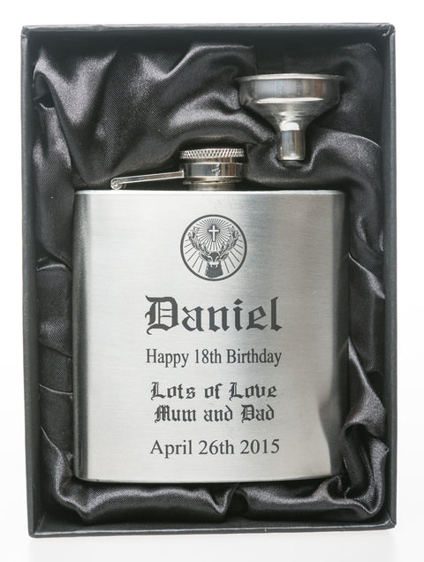 Personalised *Silver* Hip Flask in Gift Box - Jagermeister Design