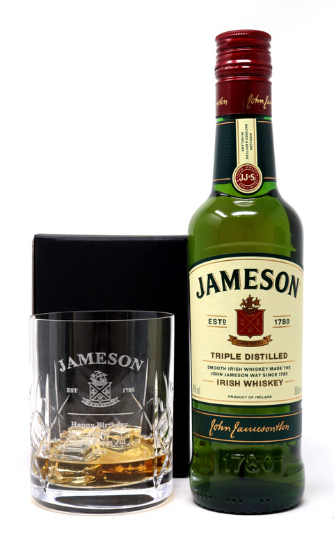 Personalised Crystal Glass Tumbler & 35cl Jameson Irish Whiskey - Jameson Label Design