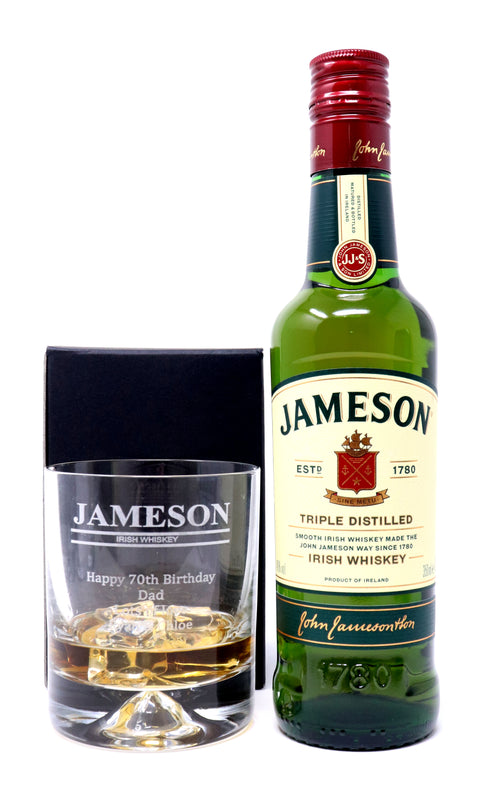 Personalised Dimple Base Glass Tumbler & 35cl Jameson Irish Whiskey - Jameson Design