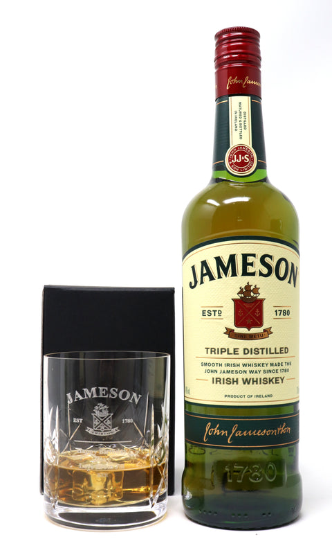 Personalised Crystal Glass Tumbler & 70cl Jameson Irish Whiskey - Jameson Label Design