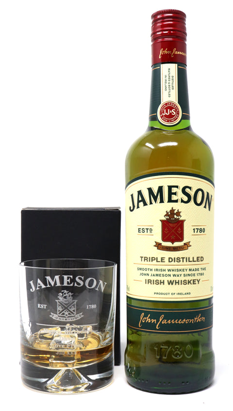 Personalised Dimple Base Glass Tumbler & 35cl Jameson - New Jameson Design