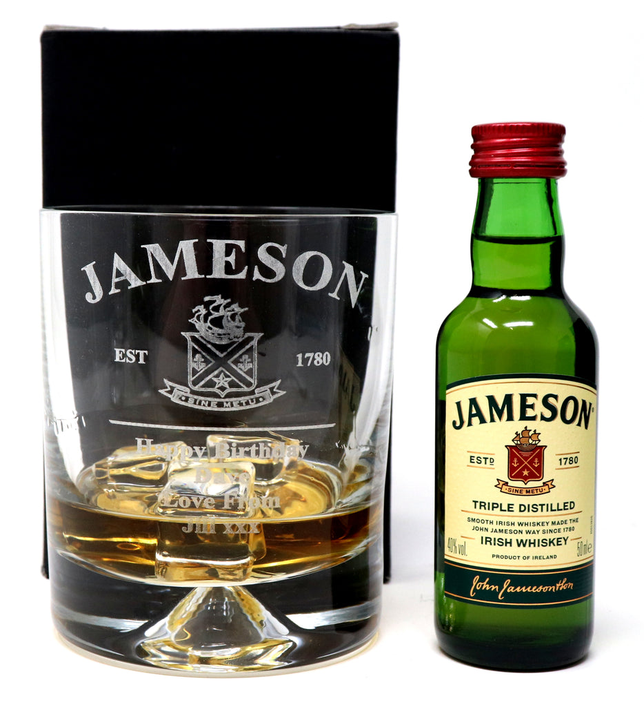Personalised Dimple Base Glass Tumbler & Miniature - New Jameson Design