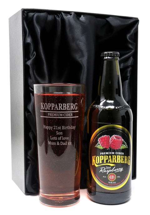 Personalised New Pint Glass & Bottle of Kopparberg Cider in Silk Gift Box - Kopparberg Design