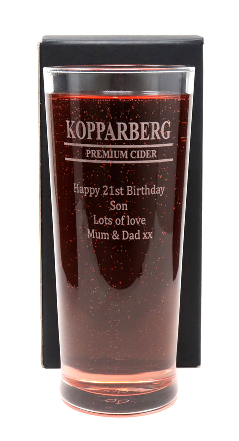 Personalised Pint Glass - Kopparberg Design