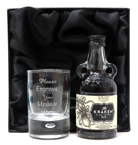 Personalised Shot Glass & Miniature Rum in Silk Gift Box