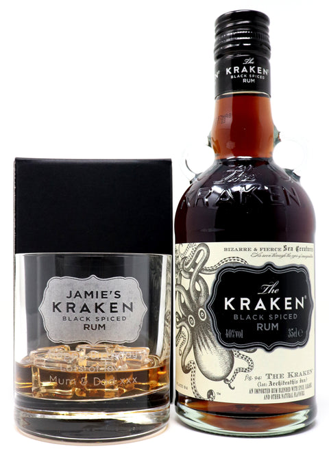 Personalised Luxury Spiced Rum Gift Hamper with 35cl Bottle of Kraken