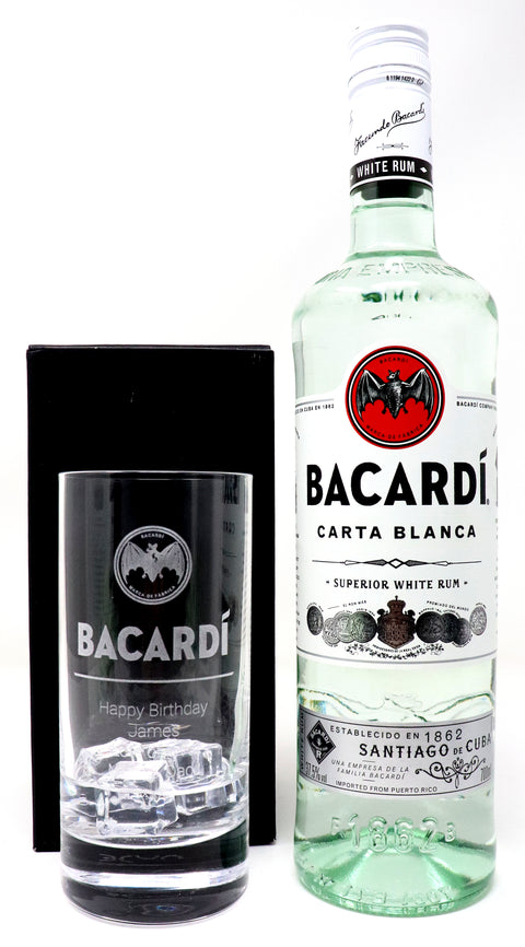 Personalised Premium Highball Glass & 70cl Bacardi - Bacardi Label Design