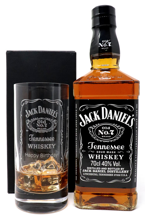 Personalised Premium Highball Glass & 70cl Jack Daniels - Jack Daniels Label Design