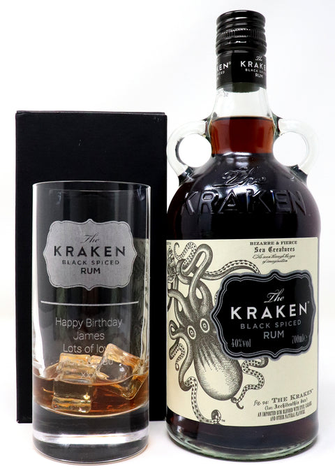 Personalised Premium Highball & 70cl Bottle of Kraken - Kraken Label Design