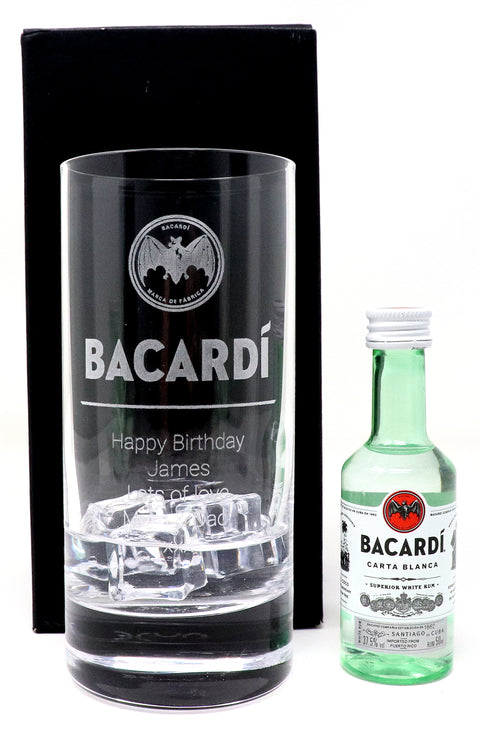 Personalised Premium Highball Glass - Bacardi Label Design