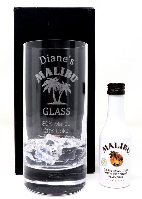 Personalised Premium Highball Glass - Malibu % Design