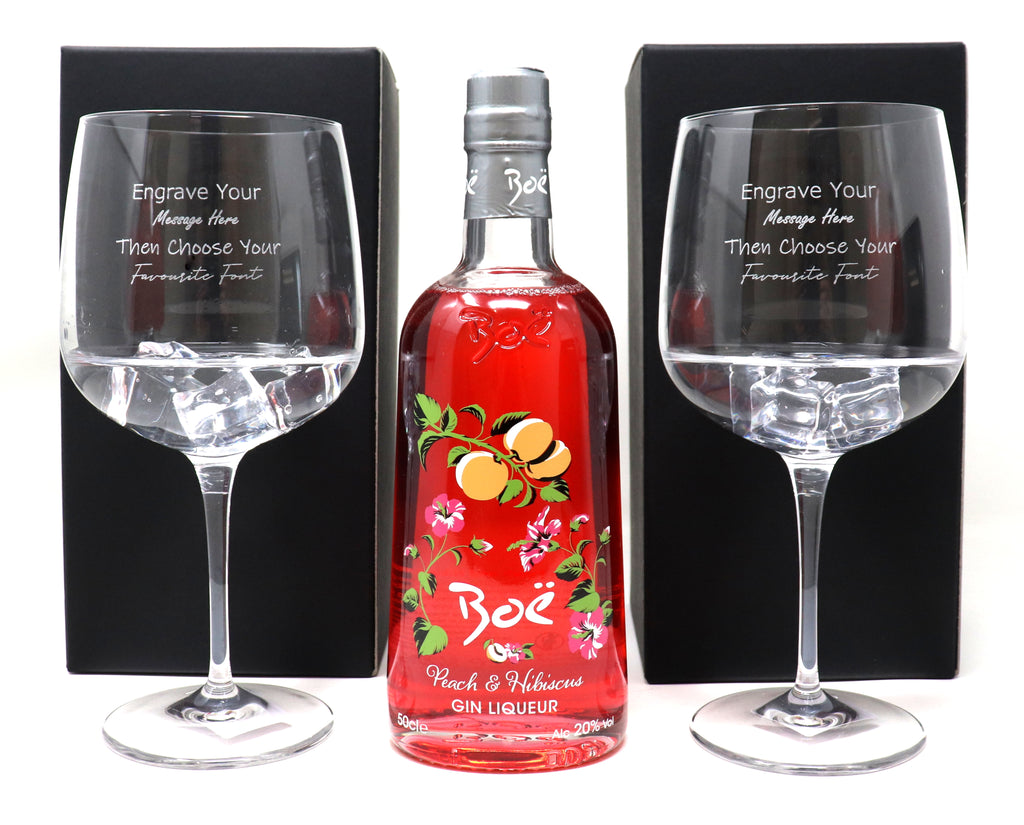 Personalised Pair of Balloon Gin Cocktail Glasses & 50cl Bottle of Boe Peach & Hibiscus Gin